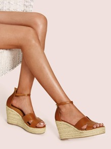 Ankle Strap Cut Out Detail Espadrille Wedges