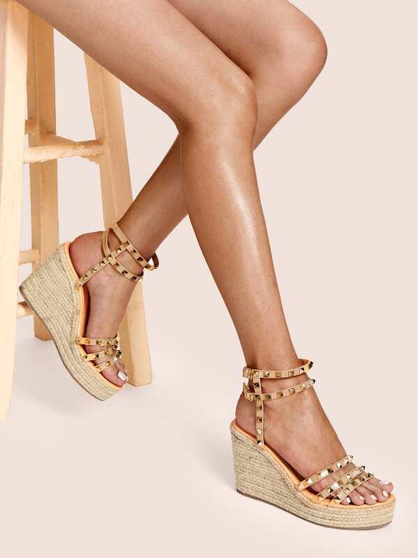 7995e1b9bde Studded Decor Ankle Strap Espadrille Wedges