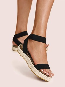 Elastic Cross Strap Espadrille Wedges