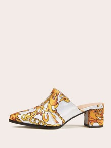Point Toe Chain Print Chunky Heeled Mules