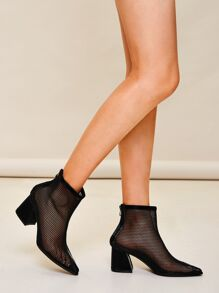 Point Toe Zip Back Mesh Boots