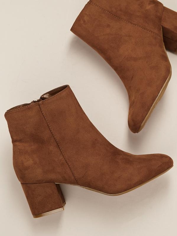 Almond Toe Block Heel Ankle Boots by Sheinside