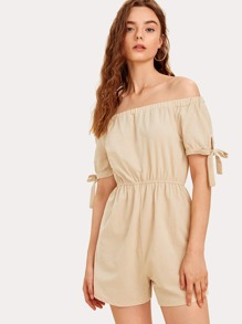 Off-shoulder Knot Cuff Solid Romper