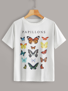 Letter & Butterfly Print Tee