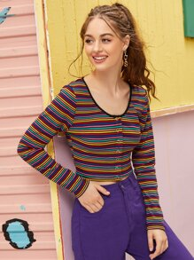 Rainbow Striped Popper Ribbed Tee