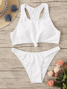 Knot Front Racerback Top With Cheeky Bikini Set