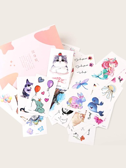 Cat & Flower Pattern Tattoo Sticker 50sheets