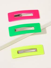 Simple Neon Hair Snap Clip 3pcs