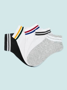 Striped Pattern Ankle Socks 5pairs
