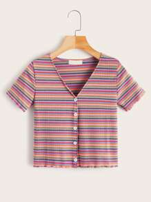 V-neck Colorful Striped Button Front Tee