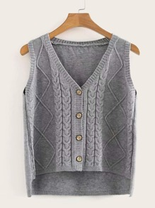 Button Front High Low Cardigan