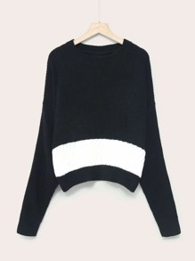 Contrast Panel Arch Hem Sweater