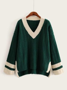 High Low Contrast Trim Sweater