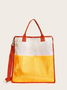 Color-block Contrast PVC Satchel Bag