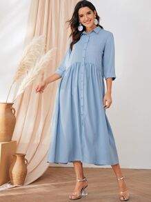 Cuffed Sleeve Button Front Smock Shirt Dress