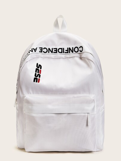 Letter Embroidery Oxford Backpack