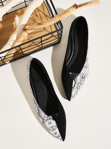 Point Toe Snakeskin Print Flats