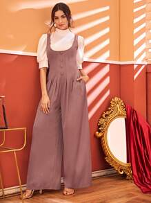 Solid Zipper Back Wide Leg Jumpsuit