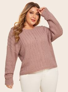 Plus Cable Pattern Drop Shoulder Solid Sweater