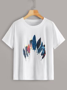 Feather Print Short Sleeve Tee