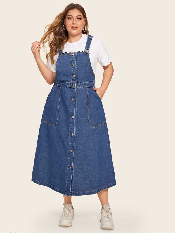 Plus Button Through Denim Pinafore Dress