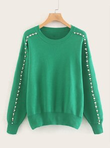 Drop Shoulder Pearl Beaded Jumper