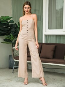 Double Crazy Button Front Lace Up Wide Leg Jumpsuit