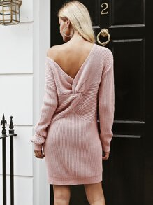 Simplee Twist Back Drop Shoulder Sweater Dress