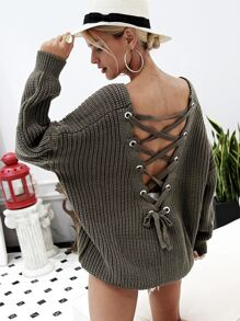 Simplee Grommet Lace Up Drop Shoulder Sweater