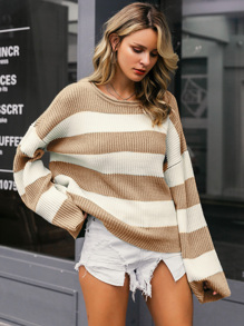 Simplee Color-block Drop Shoulder Sweater