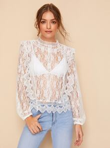 Scallop Edge Sheer Lace Blouse