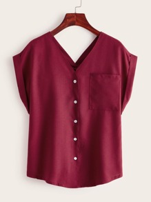 V-neck Button Front Pocket Patch Blouse
