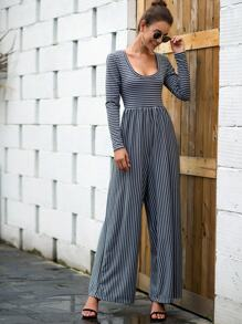 Scoop Neck Striped Wide Leg Jumpsuit