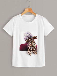 Figure Print Bow Front Tee