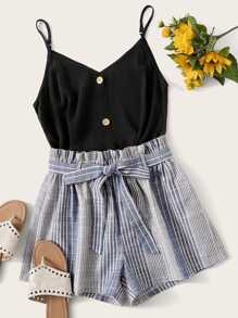 Button Front Cami Top With Striped Belted Shorts