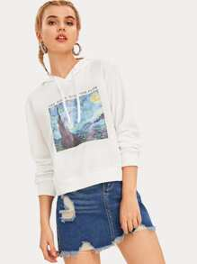 Painting And Letter Print Drawstring Hoodie