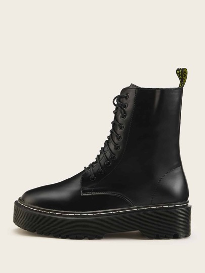 Solid Lace Up Boots