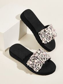 Open Toe Faux Pearl Decor Sliders