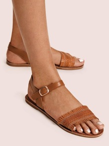 Fringe Trim Braided Strap Sandals
