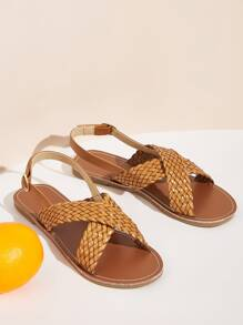 Braided Cross Strap Slingback Sandals