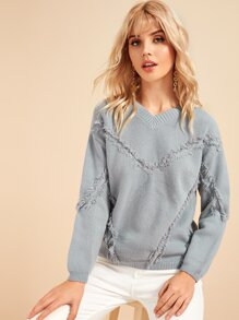 V-neck Drop Shoulder Raw Hem Sweater