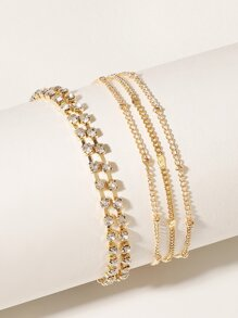 Rhinestone Engraved Layered Anklet 2pcs