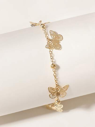 Hollow Out Butterfly Anklet 1pc