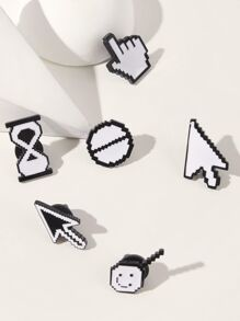 Arrow & Sign Design Brooch 6pcs
