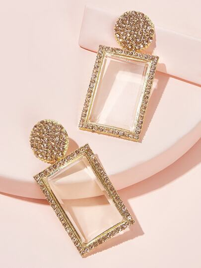 Rhinestone Engraved Geometric Drop Earrings 1pair