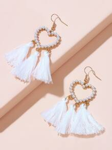 Faux Pearls Heart Shaped Tassel Drop Earrings 1pair