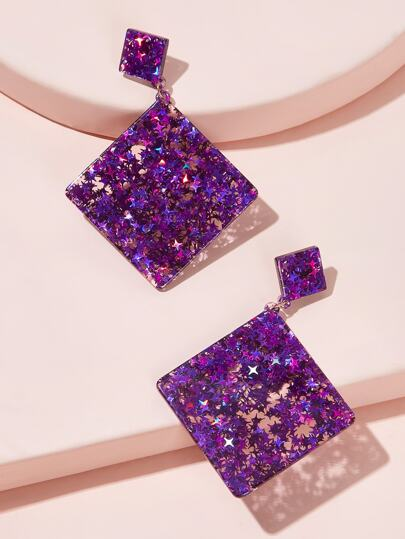 Double Square Star Decor Drop Earrings 1pair