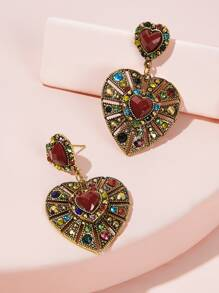 Heart Shaped Rhinestone Decor Vintage Drop Earrings 1pair