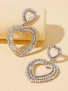 Rhinestone Open Heart Drop Earrings 1pair