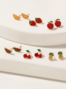 Fruit Shaped Stud Earrings 6pairs